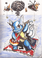Wartortle x AWESOME commission by Minakichan