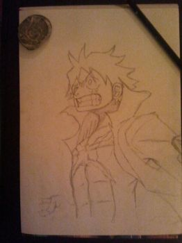 Luffy from OnePiece sketch by D4vYz