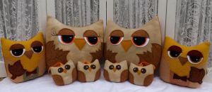 Fall Decor Owl Pillows Plushies Ornaments by sylvialovespink
