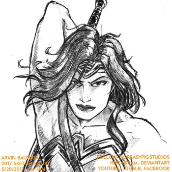 Arvin Bautista Sketches 2017 57/100: WonderWoman B by greasypigstudios