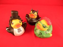 The Penguin, The Riddler, and Catwoman ducks by spongekitty