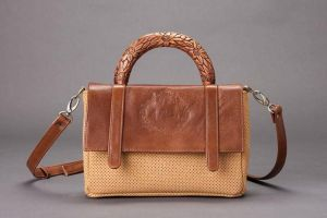 natural skin bag and wooden carved handle by EdwardWoodART