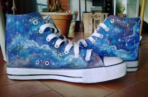 Tardis sneakers! (and Galaxies) by LadyFabcurly