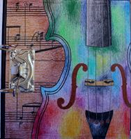 Rainbow Violin by Kick-Artist