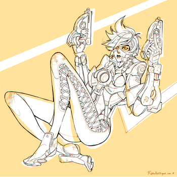 Overwatch | Tracer Lineart by lightning-seal