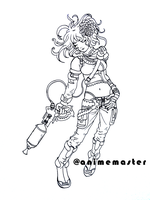 Steam Punk Lady Warrior - Ink Line Art by anime-master-96