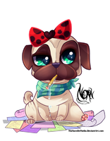 Deviant ID: Writer Pug by TheNornOnTheGo