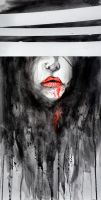 Vampire Face Watercolor Painting by TheNewestRedRanger