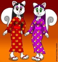 Squirrel Sisters' Halloween Kimonos by CaseyDecker