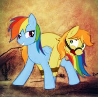 Rainbow Dash Caught A Braeburn by EchoRelicArt