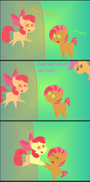 Oh Noez Apple Bloom is stuck inside a jelly cake! by RinnyThePony
