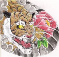 Japanese Tiger pec 2 colored by TigerDreams