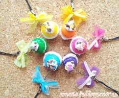 Rainbow Macaroon Phonestraps by mashlimaro