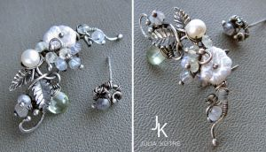 Sterling silver earcuff Snow blossoms by JSjewelry