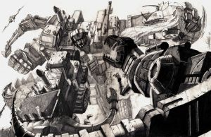 Devastator vs Dinobots by LivioRamondelli