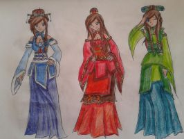 The four nations: Water, Fire, Earth by chaoslilac