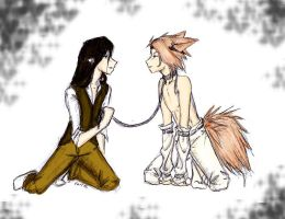 Neko on a leash COLORED by baka-kitsune18