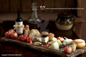Miniature Tudor Fare - Ploughman's Lunch by CaroMcFW