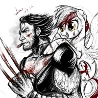 Wolverine and  my  OC by zhens