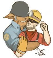 Fluffy Solly and his Engie by KaijahM