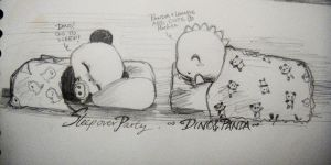 Dino and Panda Sleepover by MelodicInterval