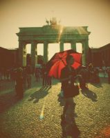 Red Umbrella in Berlin by mywonderart