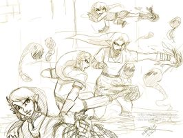 SHC- Fight! - rough sketch- by Kim-SukLey