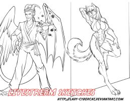 Livestream Sketches 5 by lady-cybercat