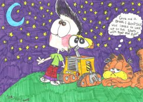 Walle and Garfields Night by Jamesf5