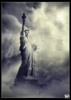 City of clouds: Miss Liberty by webby85