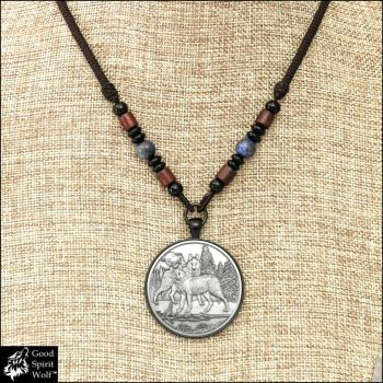Alpha Wolves Pendant on Beaded Cord Necklace by GoodSpiritWolf