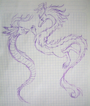 White Dragon and Horned Snake by firagare
