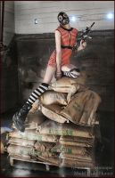. pin up gas mask . by GrotesquePuPPyMeow