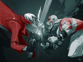 Dante vs. Kratos by biz02