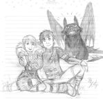 Hiccup, Astrid and Toothless - Sketch by KatyTorres