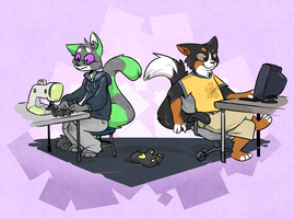 Commission: Work And Play by Spurkeht