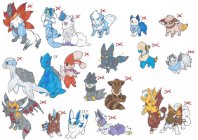 Buttload of Pokemon hybrid adopts -CLOSED- by LittleWhiteWolfAngel