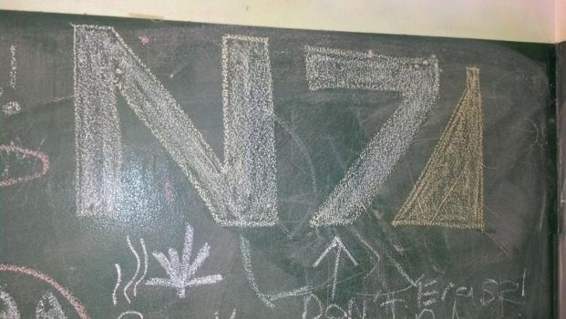 awesome chalk art in the bathroom by killer-klaus