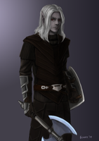 C: Half-Drow Warrior by bchart