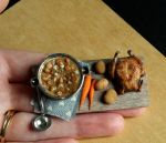 1:12 Scale Vegetable Stew and Rotisserie Chicken by fairchildart