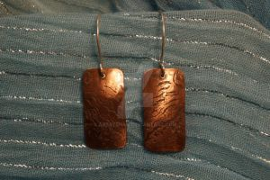 Waters Edge etched copper earrings by ArtsyShan