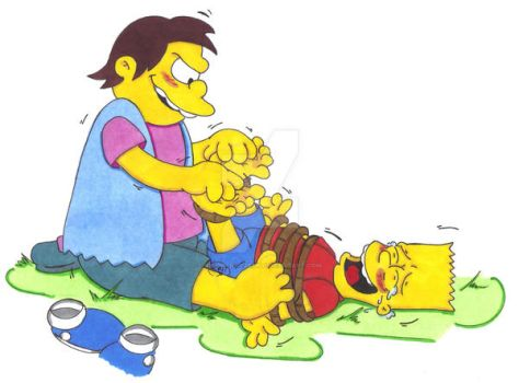 Tickle Torture: Nelson Tickling Bart by KnightRayjack