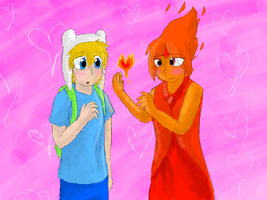 Finn and Flame Princess by CascadingSerenity