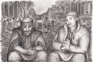 Tales around the campfire. Old man and hunter by FioreValentine