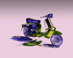 GLASS LAMBRETTA SCOOTER  BLUE AND YELLOW by smault23
