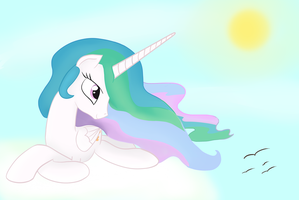 Princess Celestia day sky by Kaleysia