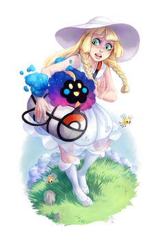 Lillie and Cosmog by purmu