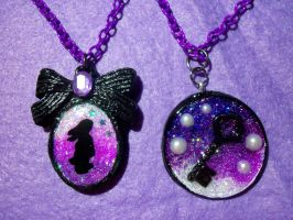 Silhouette Bunny  and Key Pendants by TashaAkaTachi