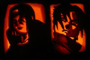 Itachi-Sasuke Pumpkin Carving by Kindred-Tari