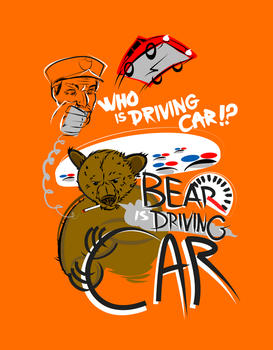 Bear is Driving Car vOrange by fightignorance